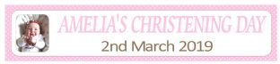 Personalised Pink Polkadot Photo Christening Banner